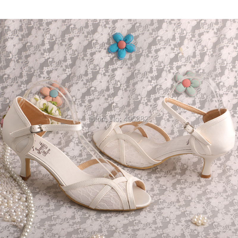 6b8d8041076a Brand Name Lace Ivory Women Sandals 2016 Wedding Medium Heel Ladies Shoes  Dropshipping-in Women s Sandals from Shoes on Aliexpress.com