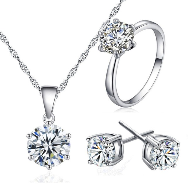 734576fbca05 Collar pendiente del anillo del conjunto Simple clásico conjunto de joyería  de la novia