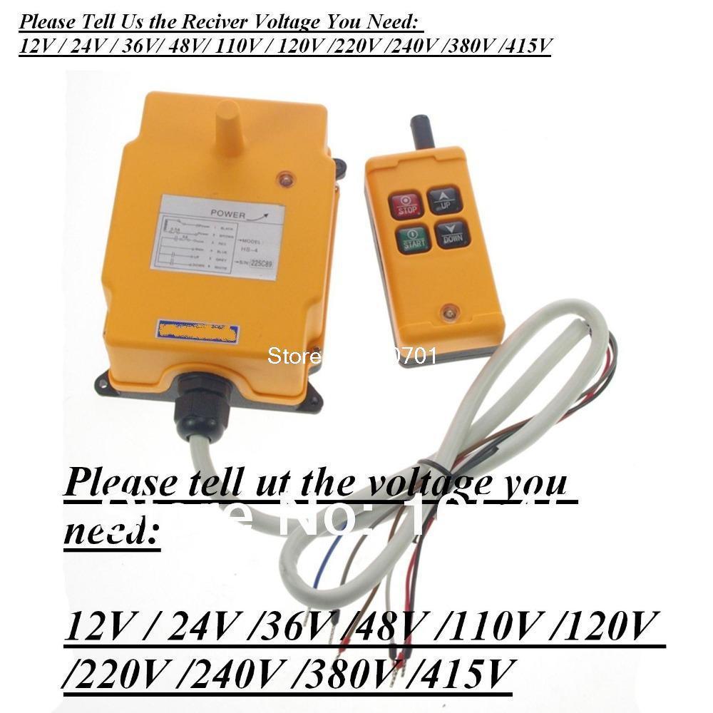 HS-4 4 Channels 1 Speed Control Hoist Crane Radio Remote Control System We stock 12V/24V/36V/48V/110V/120V/220V/240V/380V/415V hs 4 220vac 4 channels hoist crane radio remote control system