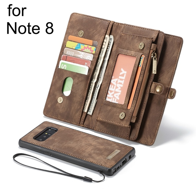 check out 71e5f 57adf US $17.49 30% OFF|Multifunction Zipper Leather Wallet Magnetic Removable  Back Case For Samsung Galaxy Note 8 Flip Cover Card Holder Pouch Women-in  ...