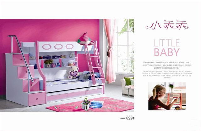 Mdf Panels Children Bed Full Bunk Bed With Stairs Drawer Pink Colour