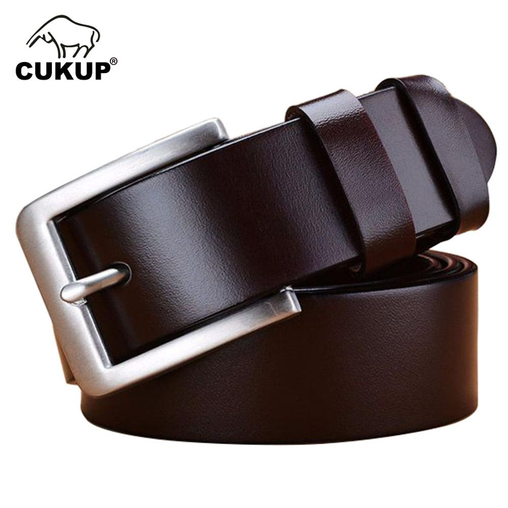 CUKUP Simple Design Stainless Steel Pin Buckle Metal 100 Cow Skin Belt Largest 160cm Belts Men