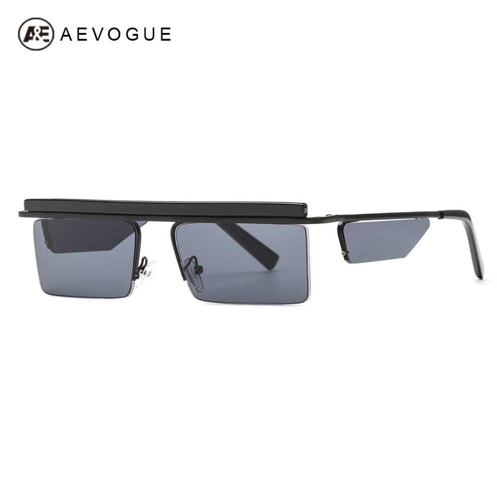 AEVOGUE солнцезащитные очки Для женщин унисекс квадратные очки без оправы  сбоку оттенки Прохладный Ocean прозрачные линзы 20a7689da36