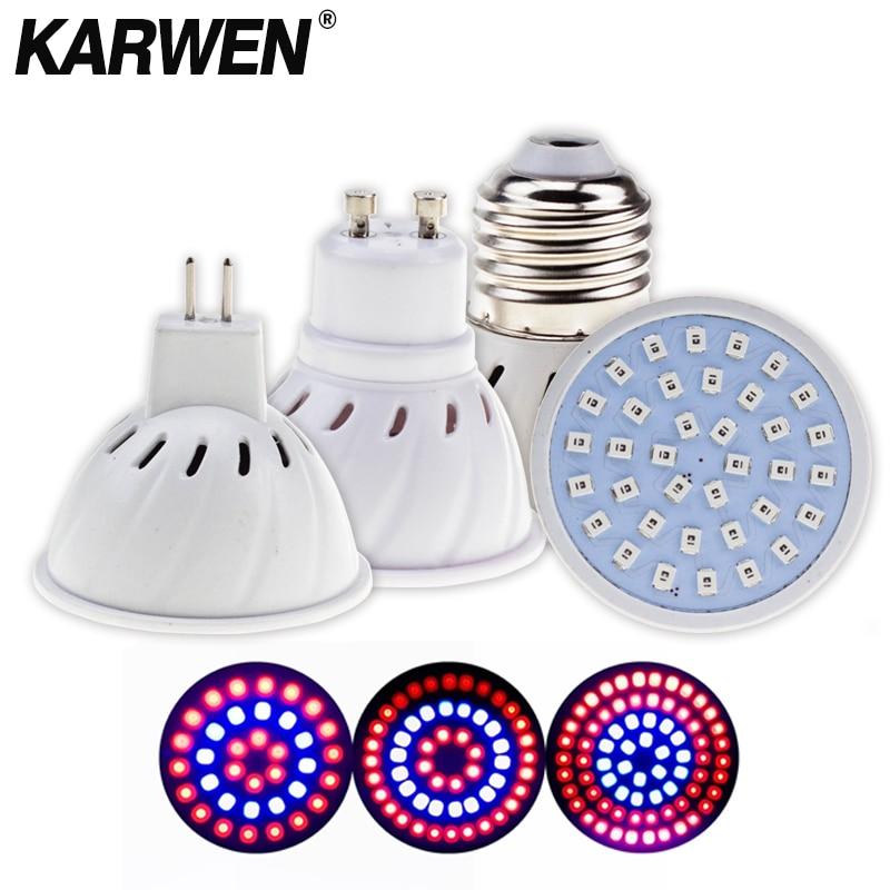 KARWEN Led Grow Light E27/GU10/MR16 220V 36 54 72Leds Phyto Lamp Full Spectrum LED Grow Light Vegetable Grow Light SMD2835