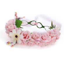 Fashion Wedding Bridal Hair Accessories 4 Colors Wreath Flower Headband For Women Crown Hairbands With Ribbon