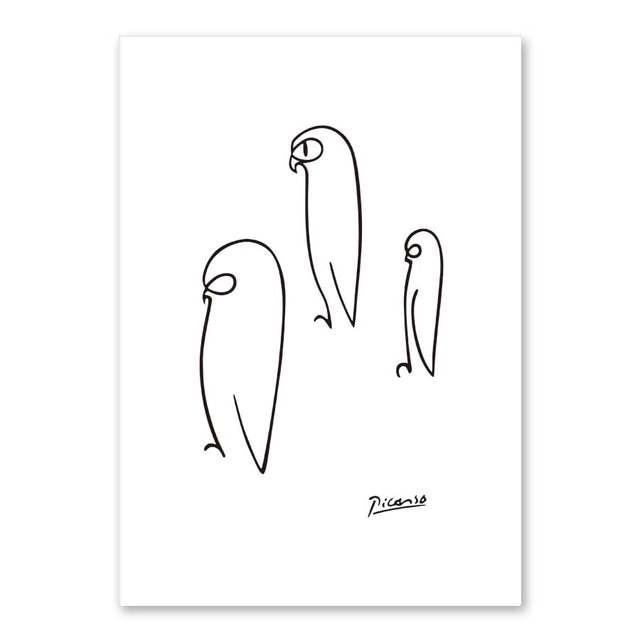 1 99 45 De Réduction Picasso Dessin Au Trait Animaux Croquis Minimaliste Art Toile Affiche Peinture Noir Blanc Abstrait Image Imprimer Moderne Mur
