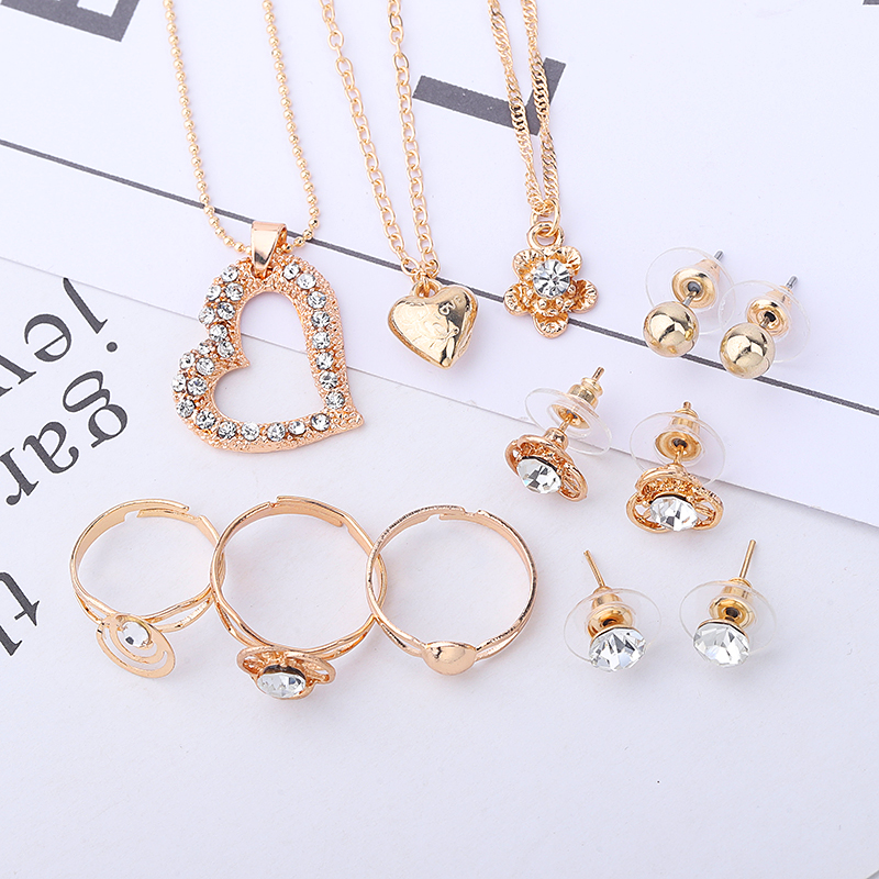 Guvivi Jewelry-Sets Set-Accessories Bracelets Chain Necklaces Heart-Pendant Crystal Wedding-Gifts
