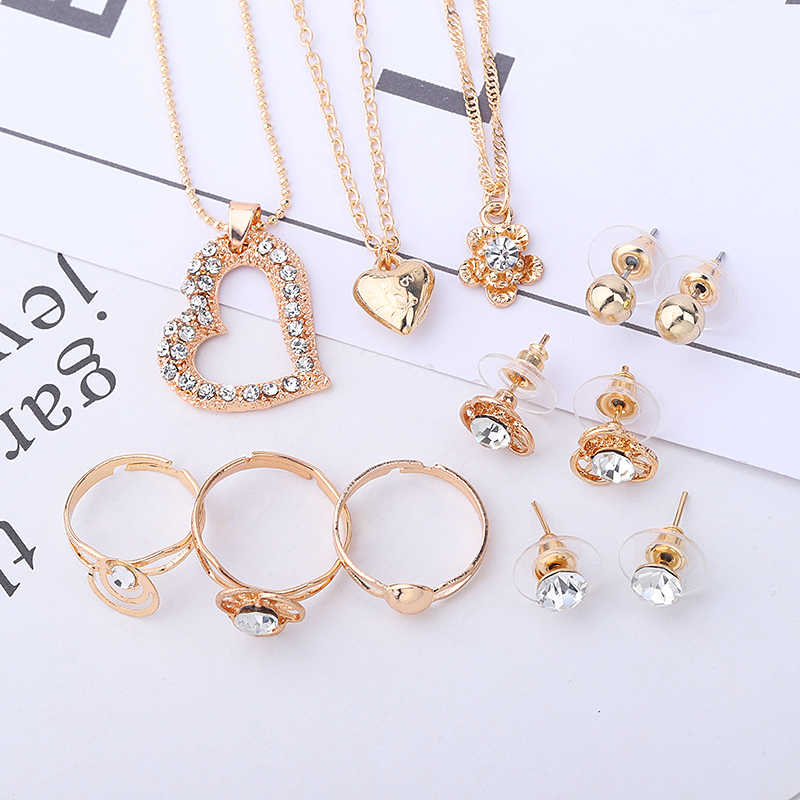 Guvivi Fashion Crystal Jewelry Sets For Women Wedding Gifts NE+BR+ RI Heart Pendant Necklaces Chain Bracelets Set Accessories