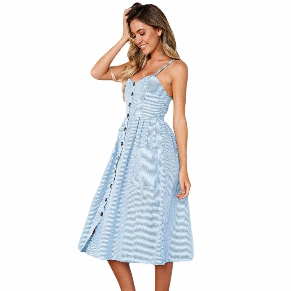 Vestido Alleen Dress Kalf Spaghetti Gestreepte Blauw Casual Lc610030 Boho U Button Mid Lange Zonnejurk Wit Goedkoop Sexxy Prijs Kopen Vrouwelijke Down 50ZxTc