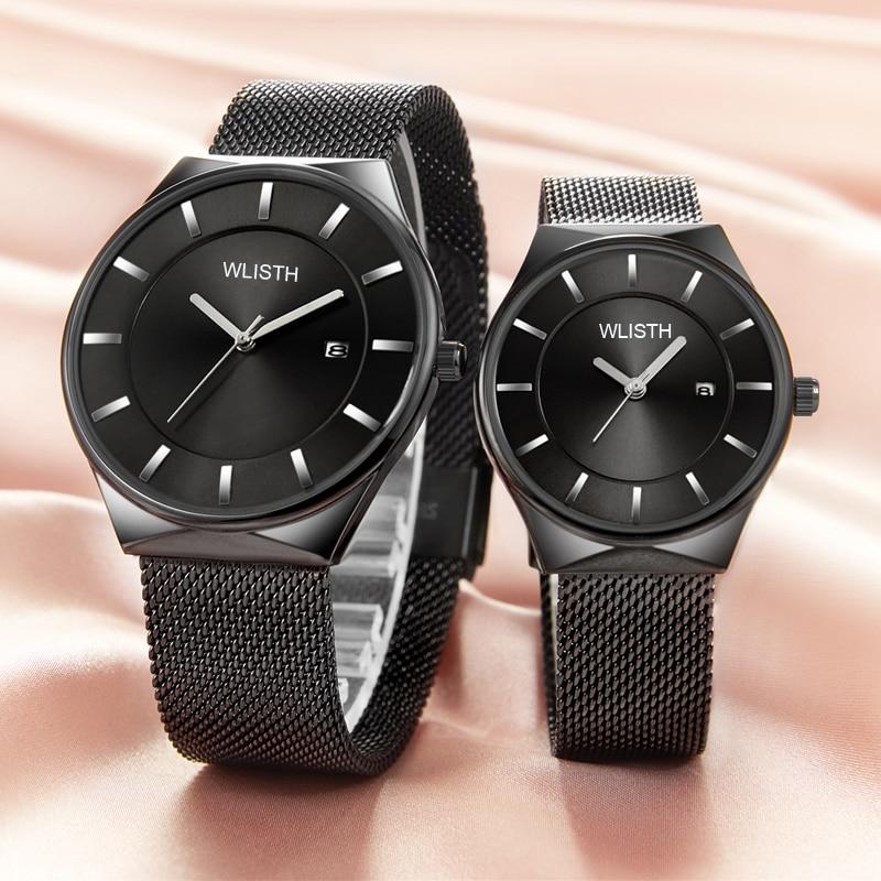 Relógios do Amante da Banda de Malha de Aço Relógio dos Homens Marca de Luxo Relógio de Pulso de Quartzo Ultra-fina Inoxidável Casual Mulheres Dom Casal Top