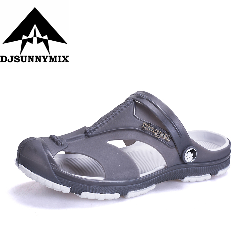 DJSUNNYMIX Plus Size 45 Men Sandals Jelly Shoes Garden Summer Fashiion Beach Breathable Casual Shoes Men Flats Slip on Slippers boys girls antislip usb sandals summer cut out comfortable flats beach sandals kids children breathable led shoes with light