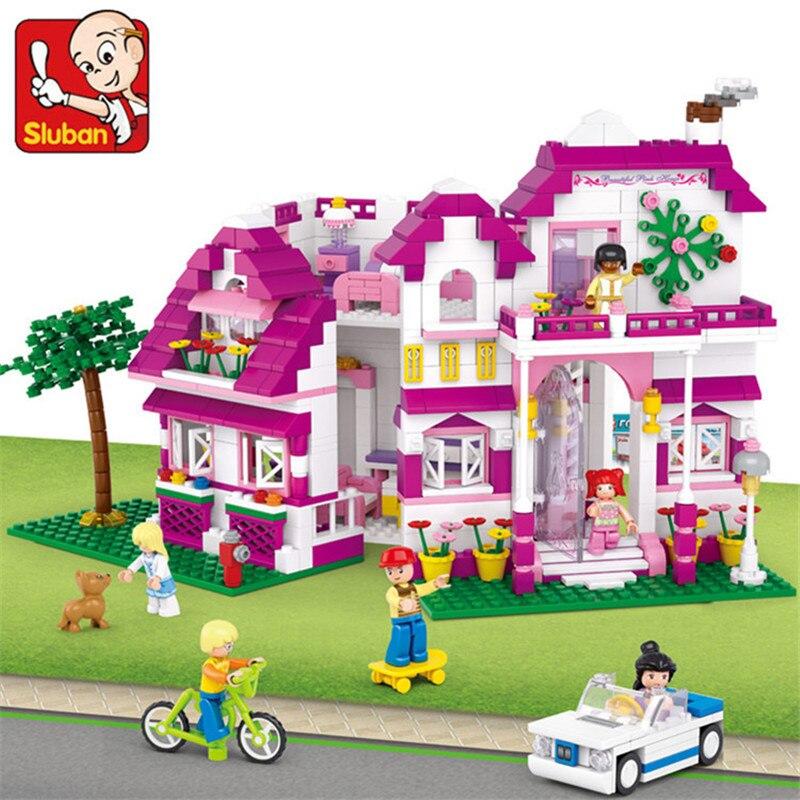 Oyuncaklar ve Hobi Ürünleri'ten Bloklar'de 726 adet Arkadaşlar Pembe Rüya Serisi Sunshine Villa Modeli Yapı Taşları Setleri LegoINGLs DIY Tuğla Eğitici Oyuncaklar Çocuklar için'da  Grup 1