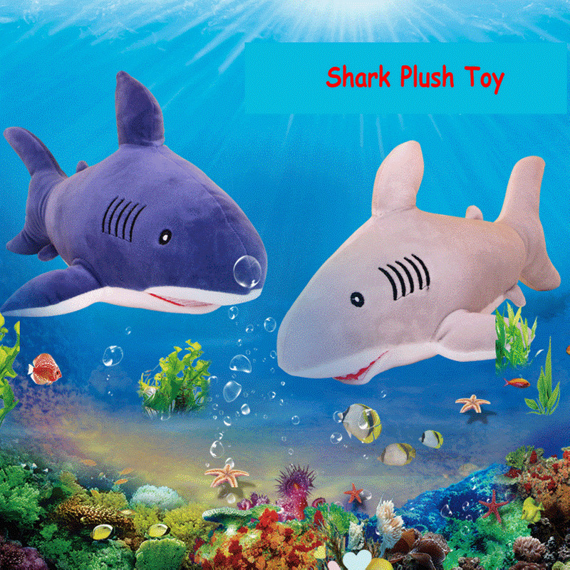 2018 New Arrival 1PC 40cm Shark Plush Toy Cute Creative Staffed Animal Doll Cushion Pillow Soft Kid Birthday Gift Blue Pink Gray