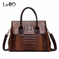 2019 New Alligator Luxury Genuine Leather Bag Designer Women Vintage Crossbody Bag Lady Retro Shoulder Tote Bag Sac A Main Femme