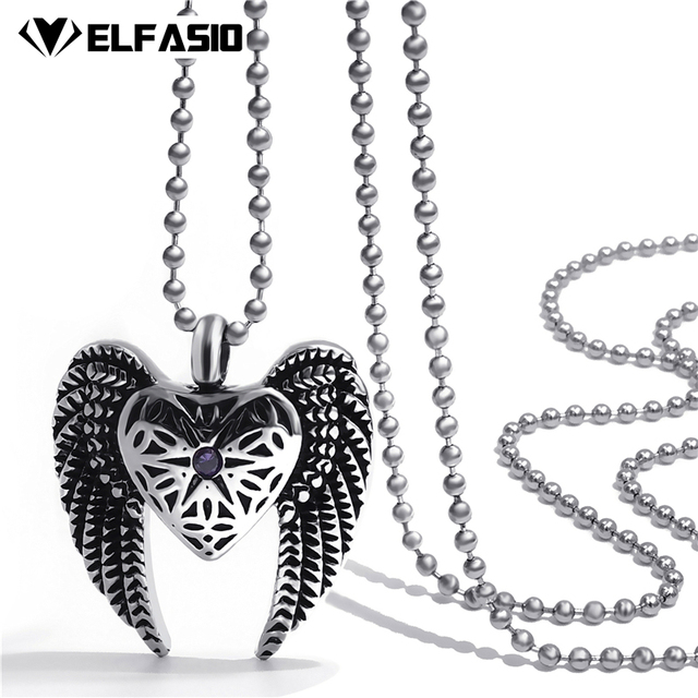 Womens Angel Wing Heat CZ Cremation Keepsake Memorial Urn Stainless Steel  Pendant Necklace Chain Jewelry 1c81c4cdeb20