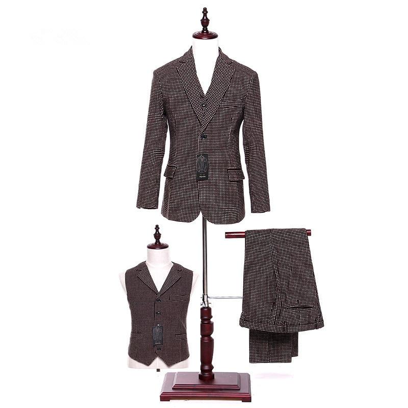 Пиджак + брюки + жилет коричневые женские деловые костюмы в горошек, Деловые женские элегантные деловые костюмы в британском стиле, женские ...