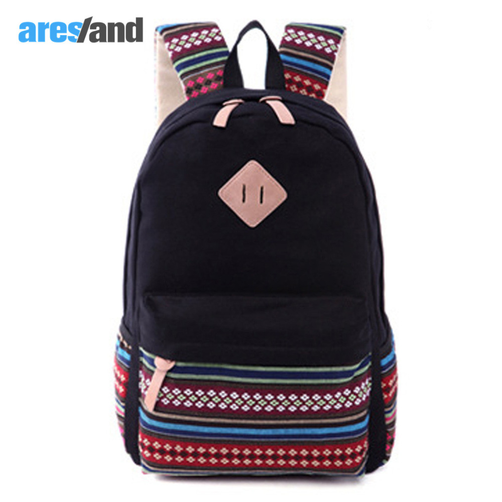 Aresland Girl's Backpack Korean Style Female Backpack Sewing Strip Pattern Large Capacity Canvas Casual Backpack Shoulder Bags