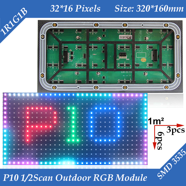 100pcs/lot High Quality, High Brightness 320*160mm 32*16 Pixels 1/2 Sacn 7500CD/M2 SMD Outdoor Full Color P10 LED Display Module