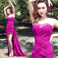 2016 new stock plus size women  bridal party dress Formal evening dress purple violet sexy fashion romantic sweep train 9257