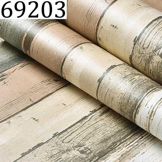 Mediterranean Vintage 3d Textured Wood Striped Wallpaper