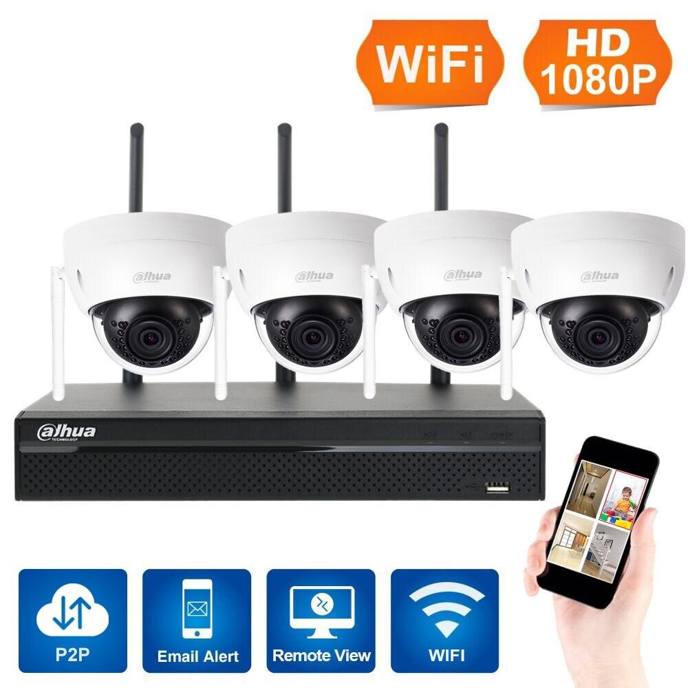 En stock 1080 p 4ch SISTEMA DE CCTV inalámbrico NVR WiFi 3mp ir Domo al aire libre P2P cámara IP impermeable seguridad videovigilancia kit