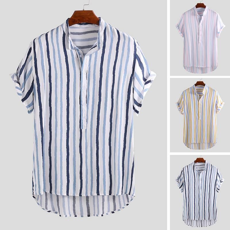 2020 Striped Hawaiian Shirt Men Stand Collar Fashion Tops Loose Breathable Beach Short Sleeve Camisa Casual Shirt Men Masculina