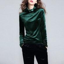 Бархатные рубашки больших размеров M-6XL 7XL, Женская винтажная бархатная блузка с длинным рукавом и высоким воротником, Женский Топ, базовая велюровая рубашка черного и зеленого цвета