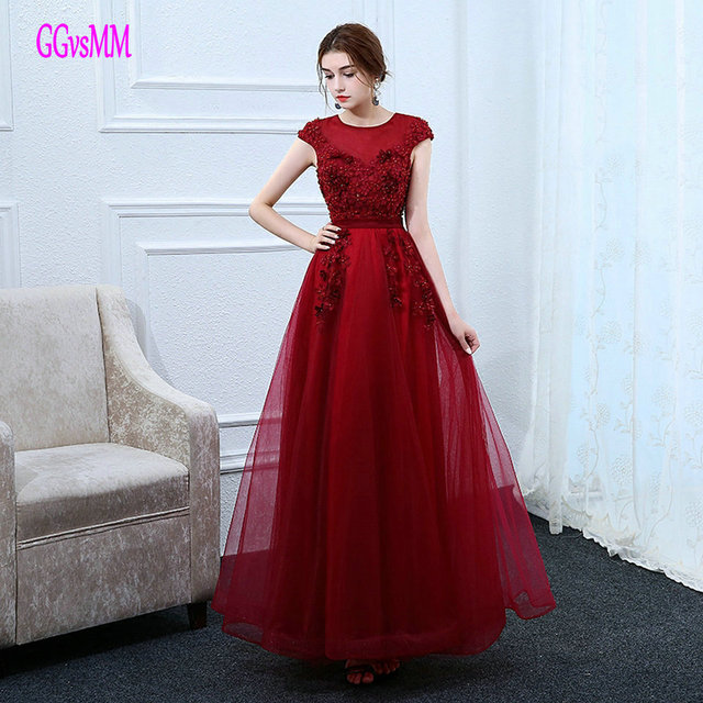 Sexy Burgundy Evening Dresses Long 2018 Evening Gown Plus Size Scoop  Appliques Pearls Lace Up Women Party Dress Formal Prom New 4d1d2939db8d