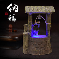 Ancient Well Water Well Rockery Flowing Water Fountain Living Room Stainless Steel Resin Decoration Inviting Money Furnishing
