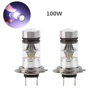 2Pcs H7 100W White CREE LED Car Fog Light Lamps For Car Auto Pure White Light