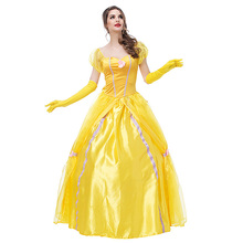 все цены на Movie Beauty and the Beast Costumes Adult Princess Belle Costume  Women Halloween Carnival Fancy Party Fantasia Cosplay Dress Up