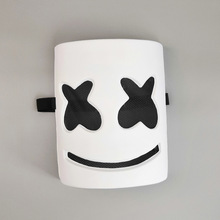Marshmallow Cosplay Plastic Mask DJ Marshmello Cos Halloween Headgear Adult Accessory White Black Eyes
