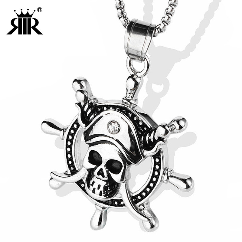 RIR Pirates of The Caribbean Necklace Dead Pirate Skull Captain Rudder Pendant Silver Gold Necklace Movie Retro Men Jewelry Gift