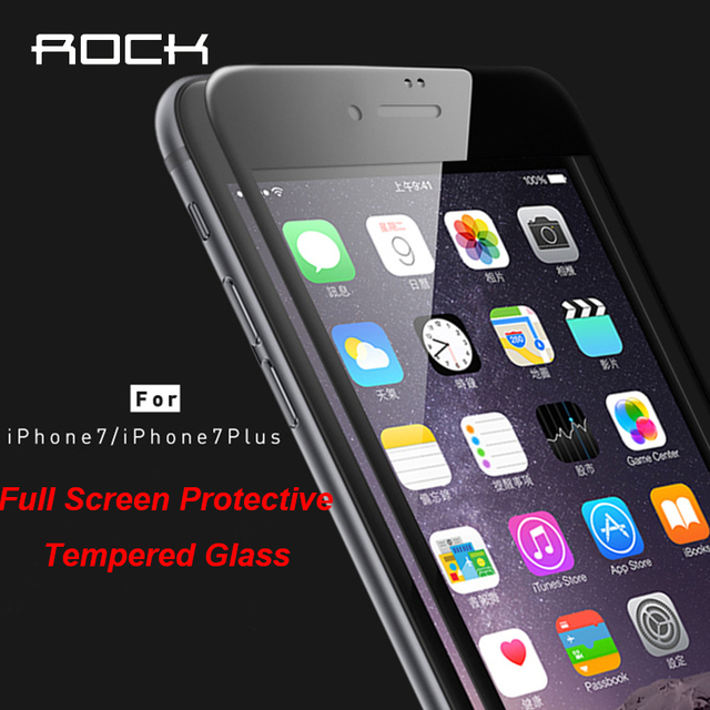 "Original ROCK 9H 2.5D Curved Full Screen Premium Protective Tempered Glass For iPhone 7 4.7"" 7 Plus Full Screen Protector Film"