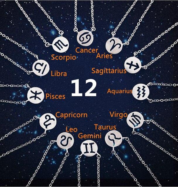 925 Solid Silver Plated 12 Star Zodiac Zircon Horoscope Astrology Galaxy Constellation Signs Necklace Birthday Wedding Gift