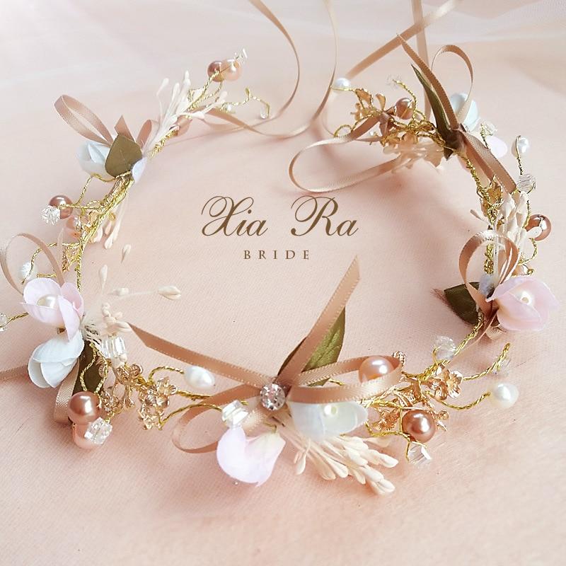 Bride Hair Wreaths Pearl Rhinestone Flower Hairband Crown Wedding Garland Hair Band Beach Wreath Hair Accessories For Women Girl