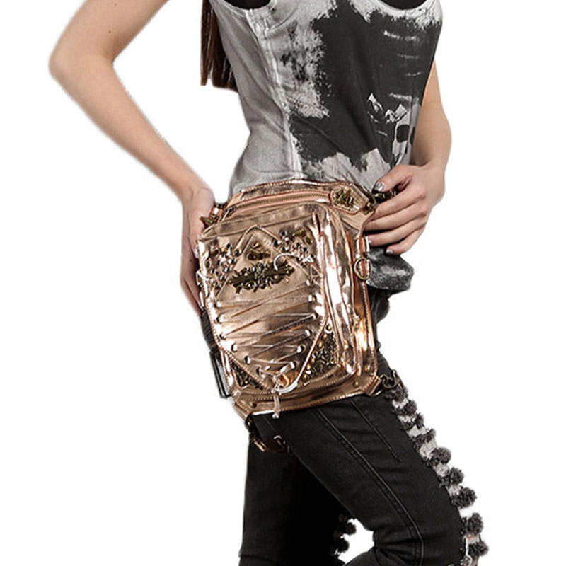 Steampunk Men Women Belt Waist Bag Rock Leather Punk Fashion Thigh Leg Bag Waist Shoulder Bags Female Purse-bag  GTLY-YB1616 steam steampunk punk motorcycle waist pack men women handbag messenger bag mini vintage retro rock bag