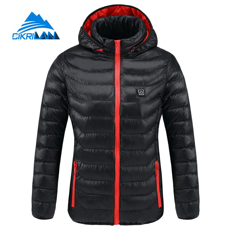 Womens Hooded Quilted Insulated Heated Outdoor Jacket Women Sport Fishing Hiking Camping Coat Usb Charging Heating Winter Parka