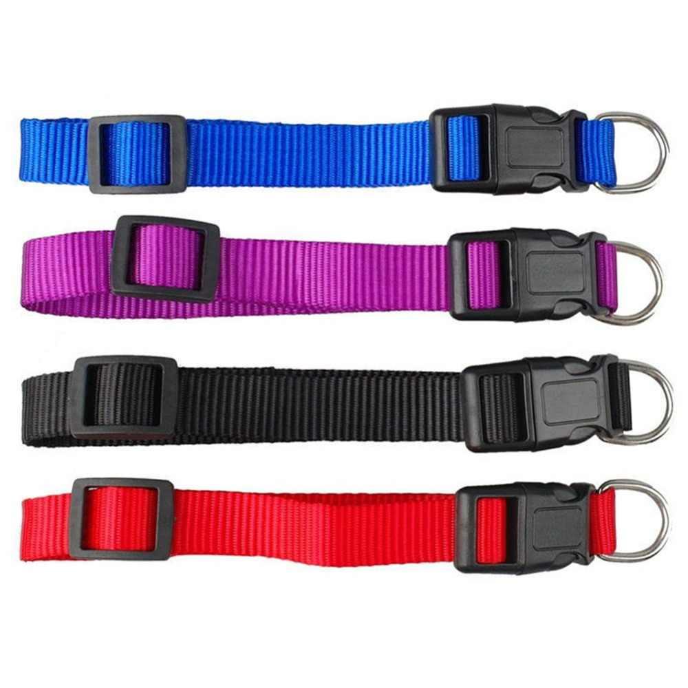 Null 1Pcs trwały Nylon solidny kolorowy kot obroża dla psa 4 kolor regulowana obroża S M X XL #281494