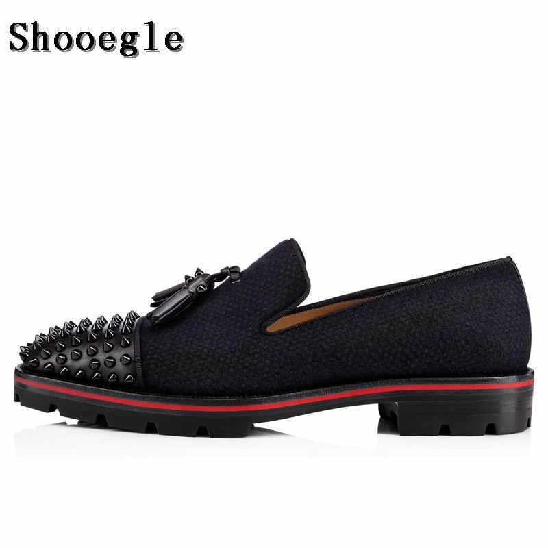 SHOOEGLE Fashion Men Black Tassel Shoes