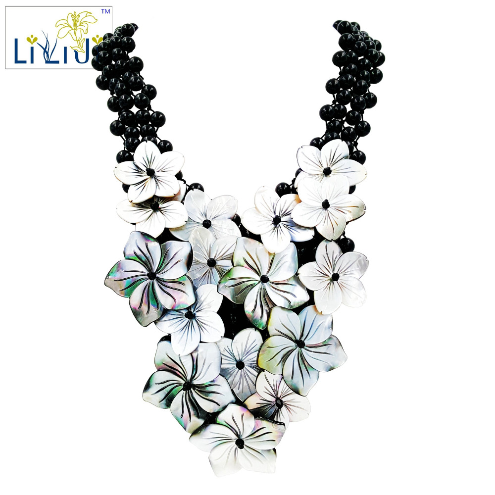 Lii Ji fait à la main tricot brillant Agate noire réglage coquille fleurs déclaration collier environ 51 cm