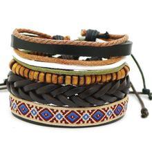 Многослойный Плетеный Кожаный браслет с деревянными бусинами