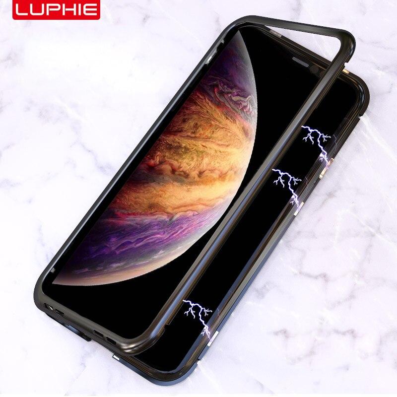 Adsorbimento magnetico Per il iphone XR/Xs XS Max Full Body Slim Fit Custodia Ultra-Sottile Leggero di Lusso del Metallo imbottiture e Paraurti