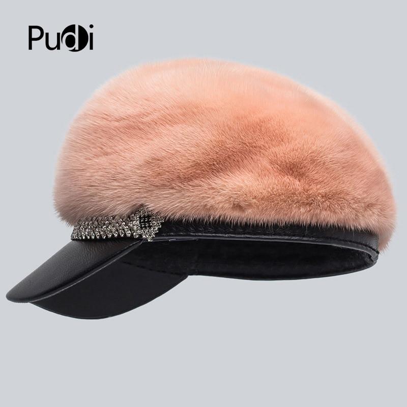 Pudi HF7044 femmes vison fourrure chapeau casquette 2017 nouvelle arrivée réel vison fourrure casquettes de baseball