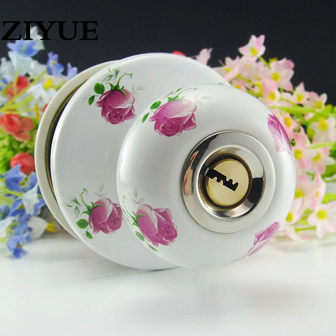 Free Shipping Red Rose Full Ceramic Ball Lock Interior Home Door Spherical Lock with Key мыло туалетное 90 г safeguard мыло туалетное 90 г
