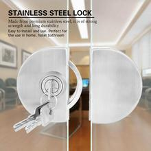 Stainless Steel Glass Door Lock Suit For 10~12mm Door Lock with Keys Open/Close Home Hotel Bathroom Glass Door Lock