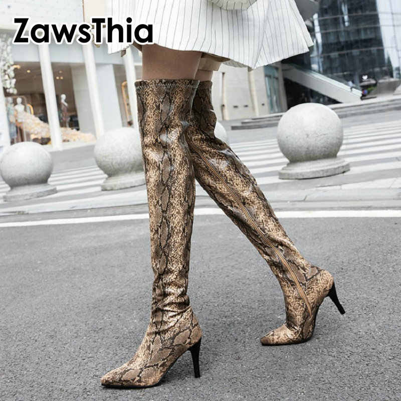 ZawsThia 2019 winter new sexy serpent snake skin print woman Over-the-Knee boots high heels long booties women overknee boots