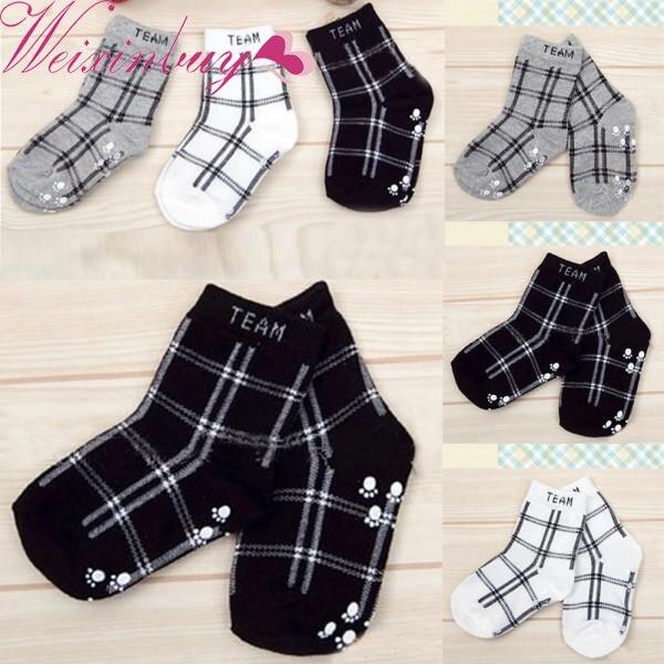 Hot Sale Baby Socks 2018 Spring Autumn Baby Boys Infant Cotton Plaid Socks Anti-slip Children Fashion Retro Floor Socks S2