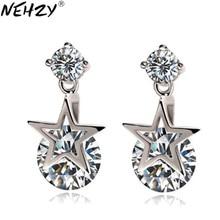 NEHZY 2018 nuovi orecchini d'argento Signora Di Cristallo Pentagramma Cubic Zirconia bella di alta qualità dei monili di modo