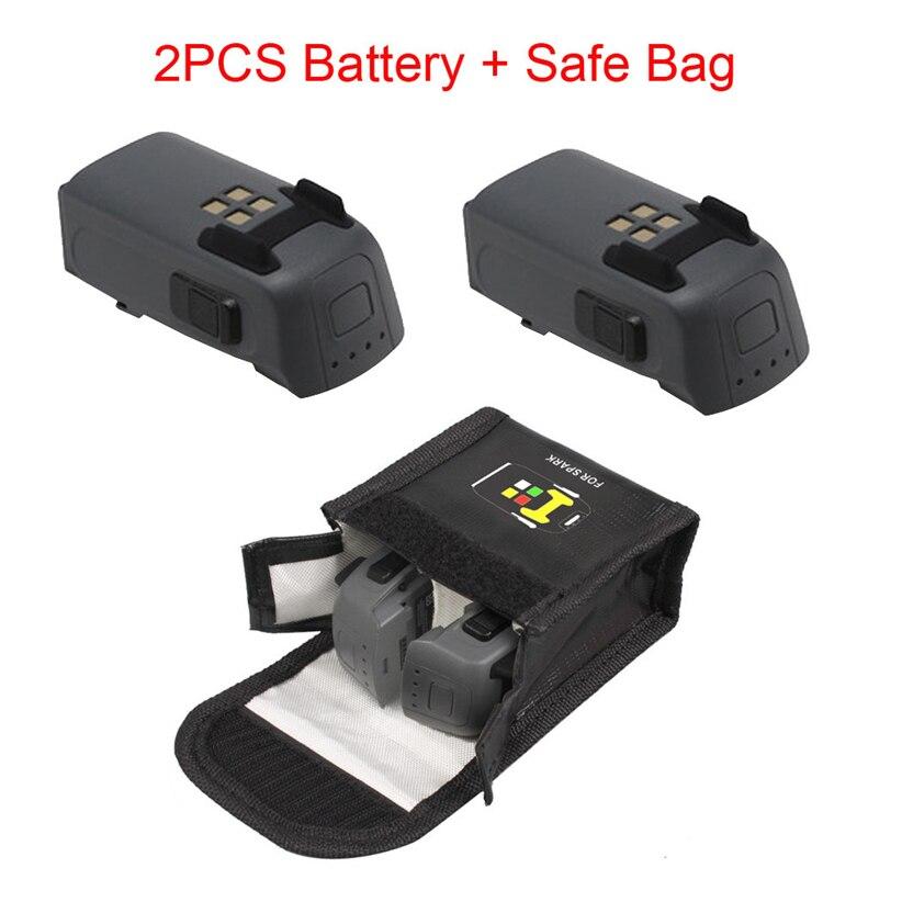 2 PCS Pour DJI Spark Drone Intelligent Vol Batterie & Étincelle Batterie Safe Sac Futural Baisse Numérique Gratuite JULL25